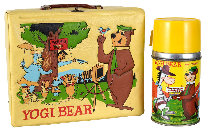 Metal Lunch Tin Part - 47: Huckleberry Hound Lunch Box Yogi Bear Lunch Box