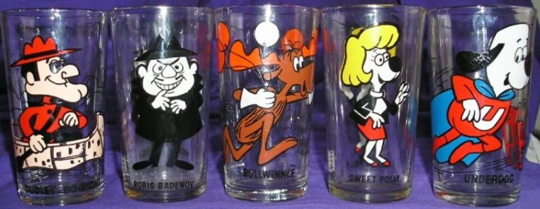Vintage cartoon drinking glasses